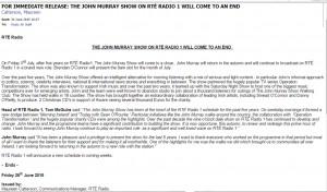 John Murray Show press release 260615